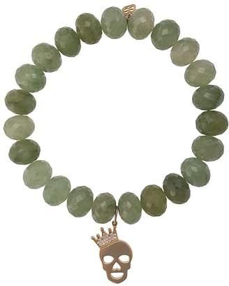 Sydney Evan 14kt gold Crown Skull beaded bracelet