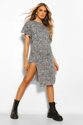 boohoo Leopard Print Frill Hem Midi Dress