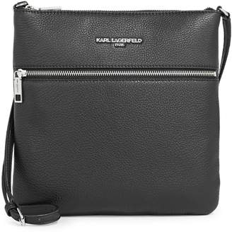 Karl Lagerfeld Paris Top Zip Leather Crossbody Bag