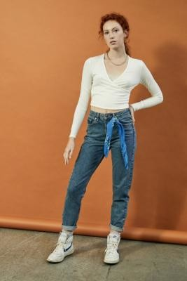 BDG Dark Vintage-Wash Recycled High-Waist Mom Jeans - Blue 24W 32L at Urban Outfitters