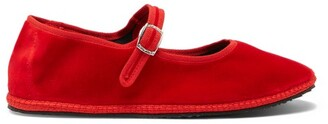 Vibi Venezia - Mary-jane Velvet Furlane Flats - Red