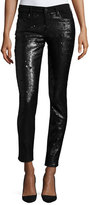 CJ by Cookie Johnson Peace Mid-Rise Skinny Sequined Jeans, Black