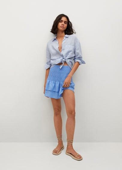 Thumbnail for your product : MANGO Ruffled linen miniskirt