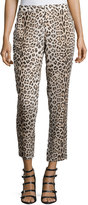 Haute Hippie Leopard-Print Cropped Pants, Buff/Black