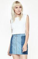 PacSun Paneled Zip Front Denim Skirt