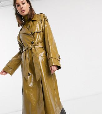 Asos DESIGN Tall vinyl trench coat in khaki