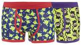 Red Herring Pack Of Two Green Monkey And Frog Printed Keyhole Trunks