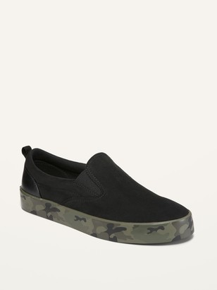 Old Navy Faux-Suede Camo-Trim Slip-Ons for Boys