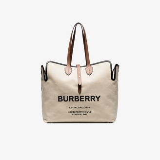 Burberry Beige Large Logo Print Canvas Tote Bag