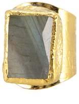 Charlene K 24K Gold Plated Labadorite Cigar Ring