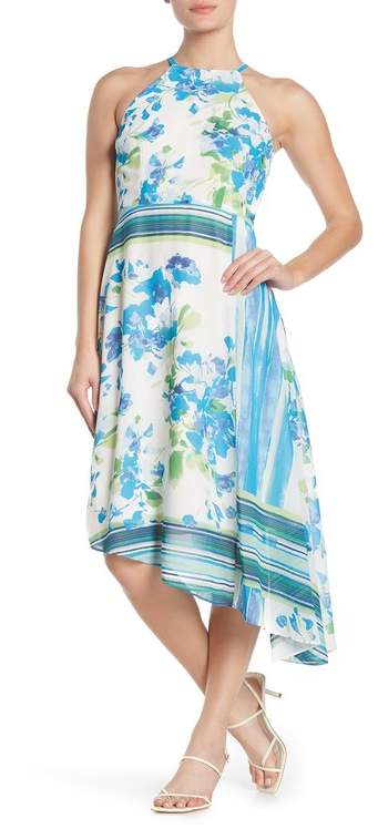 Donna Morgan Floral Stripe Chiffon High/Low Midi Dress