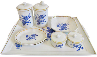 One Kings Lane Vintage Ginori Italian Gilt Porcelain Vanity Set - The Emporium Ltd.
