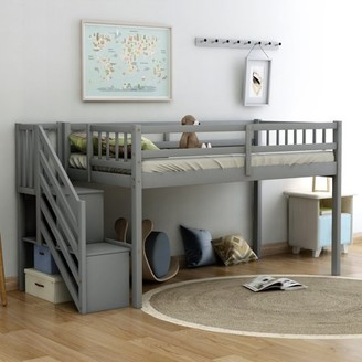 EUROCO Wood Twin Loft Bed with Stairs, Guard Rail and Storage Shelf for Kids,White