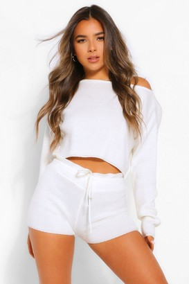 boohoo Petite Knitted Slash Neck Short Co-Ord