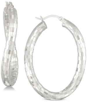 Simone I. Smith Textured Wavy Hoop Earrings in Sterling Silver