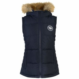 Soul Cal Womens 2 Zip Gilet Heavy Quilt Sleeveless Jacket Hooded Full Warm Fur Navy (M) 12