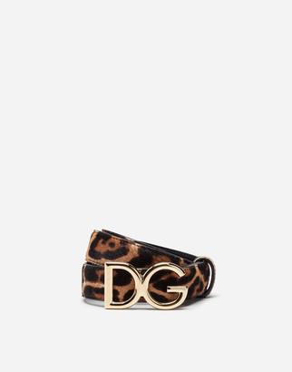 Dolce & Gabbana Belt In Leopard Print Pony With Logo