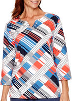 Alfred Dunner Cape Hatteras 3/4-Sleeve Geometric Print Top