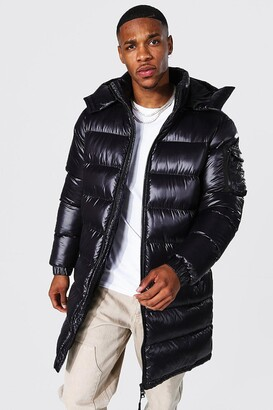 boohoo Mens Black High Shine Hooded Longline Parka, Black