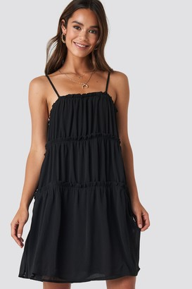 NA-KD Thin Strap Tiered Mini Dress Black