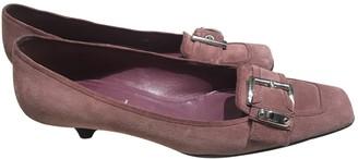 Prada Pink Velvet Flats
