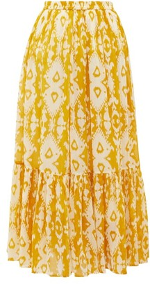 Mes Demoiselles Sumatra Ikat-print Cotton-voile Skirt - Yellow Print