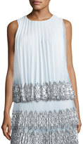 Christopher Kane Sleeveless Pleated Tulle Lace Top, White/Blue