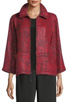 Caroline Rose Glazed Tweed Zip-Front Jacket