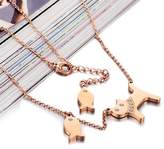 Gullei.com Cute Cat and Fish Gold Charm Pendant Necklace for Boy and Girls