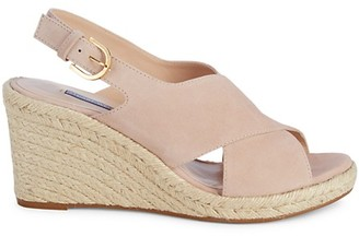 Stuart Weitzman Paris Suede Espadrille Wedge Sandals