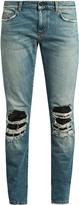Saint Laurent Distressed leather-insert skinny jeans