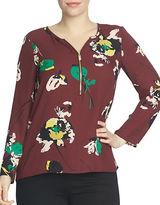 Chaus Long Sleeve Zip Front Portrait Floral Blouse