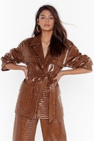 Nasty Gal Womens Can't Croc Me Now Vinyl Belted Jacket - brown - 10