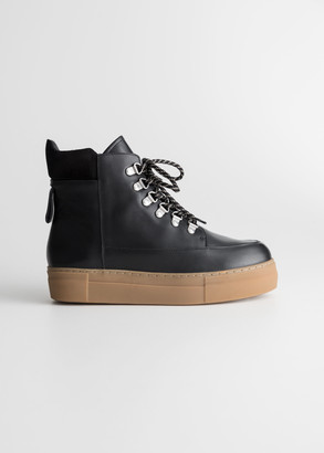 And other stories Lace Up Leather Snow Boots