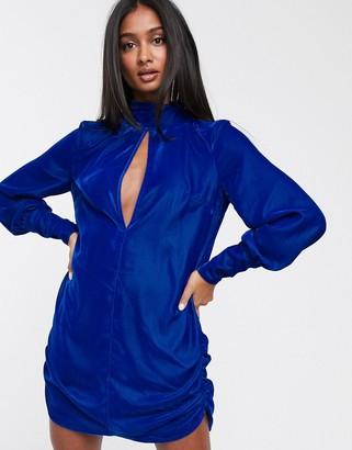 ASOS DESIGN velvet mini shift dress with keyhole