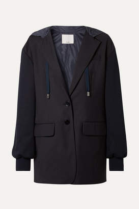 Tibi Reversible Hooded Jersey And Shell-paneled Woven Blazer - Midnight blue