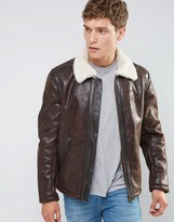 Wrangler Faux Leather Aviator Jacket