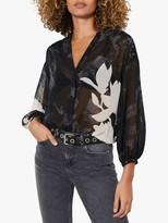 Mint Velvet Monica Floral Blouse, Black/White