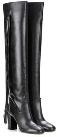 Aquazzura Fringed leather over-the-knee boots
