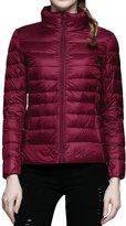 Begonia.K Women's Packable Down Jacket Stand Collar Ultralight Short Puffer Coat