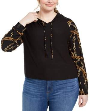 Planet Gold Trendy Plus Size Chain-Print Hoodie
