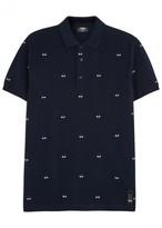 Fendi Alvr Eyes Blue Appliquéd Cotton Polo Shirt