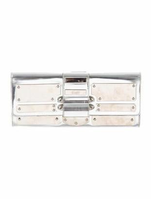 Gucci Metallic Flap Clutch Silver