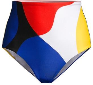 Mara Hoffman Lydia Colorblock High-Waist Bikini Bottoms