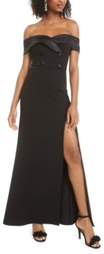 B. Darlin Juniors' Off-The-Shoulder Tuxedo Dress, Created for Macy's