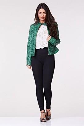 Gatsbylady London Calista Genuine Handcrafted Leather Jacket In Green With Floral Embroidery