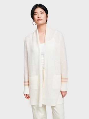 White + Warren Cashmere Textured Open Cardigan