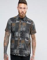Asos Viscose Vintage Print Shirt In Brown