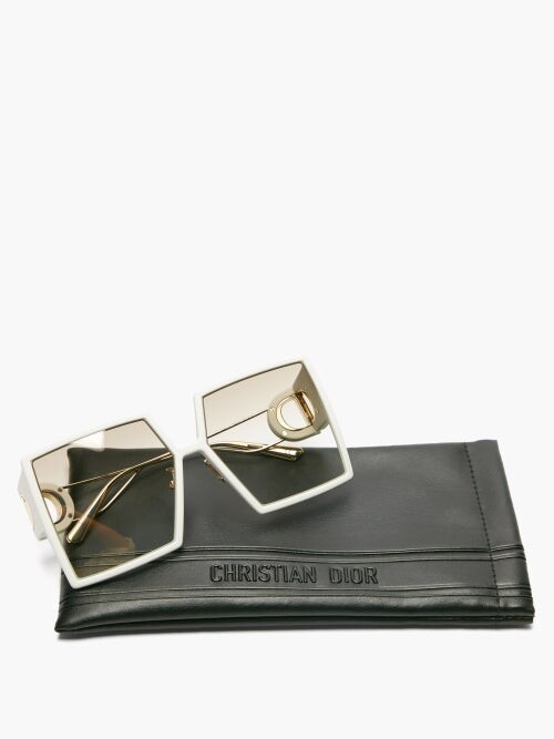 Thumbnail for your product : Christian Dior 30montaigne Square Acetate And Metal Sunglasses - White Gold