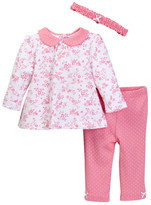 Little Me Hearts Tunic, Legging, & Headband Set (Baby Girls)